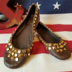 Tory Burch Gold Studded Mocha Brown Leather flats